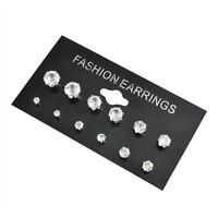 6 Pair/Set Fashion Women Jewelry Silver CZ Crystal Rhinestone Ear Stud Earrings