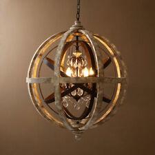 Weathered Wooden Globe Chandelier Living Room Pendant Lighting Lamp 110V Medium