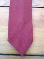"Vtg Rooster Ruffler 100% Scottish Lambs Wool Voven Rust Brown Skinny Tie 2.75"""