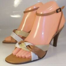 Bisou Bisou Womens Shoes US 6.5 M Brown Beige White Leather Ankle Strap Heels