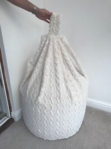 Cover Only Super Luxury Micro Faux Fur Ivory Curly Teddie Beanbag 6 cubic ft