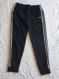 Adidas Sweatpants Women's Size L Joggers Sweats Black w/ Triple White Stripe