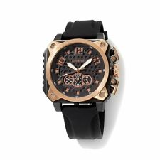 DRONE PRECISION TIMEPIECES MEN'S CHRONOGRAPH 2 TONE SILICONE STRAP WATCH HSN
