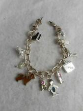 """8"""" 925 STERLING OVAL LINK BRACELET & 12 CHARMS- COMPUTER CELL PHONE FROG +++"""
