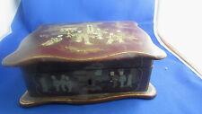 antiguo cofre caja laca de china 19 º napoleón 3 decoración de mandarinas guante