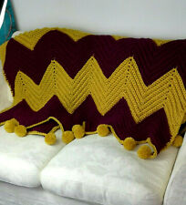 Large Super Chunky Chevron Crochet Blanket Deep Red & Mustard & Large Pom Poms