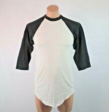 VTG 1980s Russell Athletic Blank Raglan White Black Baseball Sleeve T-shirt L
