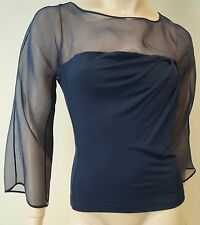 SALVATORE FERRAGAMO Navy Blue Silk Blend Sheer Panelled 3/4 Sleeve Top 42 UK10