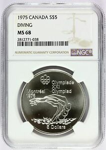 1975 Canada Montreal Olympics Diving Silver $5 Coin - NGC MS 68 - KM# 101