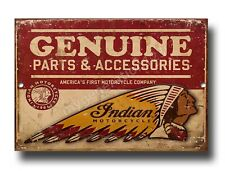 INDIAN MOTORCYCLES GENUINE PARTS AND ACCESSORIES A5 METAL SIGN