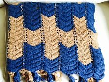 "Vintage Ripple Chevron Afghan Crochet Throw 80""x40"" Tan Blue Fringed"