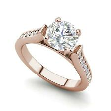 Channel 1.5 Carat VS2/F Round Cut Diamond Engagement Ring Rose Gold