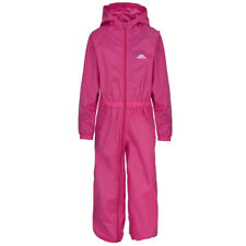 Trespass Kids Button Suit Waterproof All in One Puddle Rainsuit 12 Mths to 8yrs 7-8 Years Pink (gerbera)