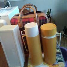 Vintage 4 Piece Plaid Thermos Picnic Set. Soup and coffee thermos & container.