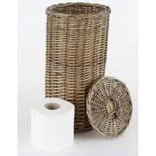 Antique Wash Round Wicker Toilet Loo Roll Basket Holder Tidy Storage