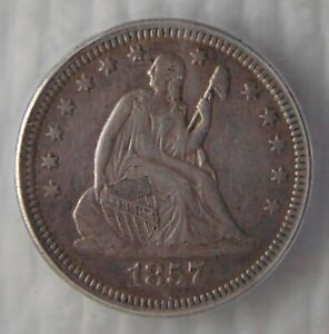 1857 Seated Liberty Silver Quarter 25C ~ ICG VF35, NICE COIN!