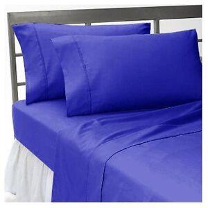 Sheet Set 6 PC 1000 TC Egyptian Cotton UK-Double Size Egyptian Blue Solid