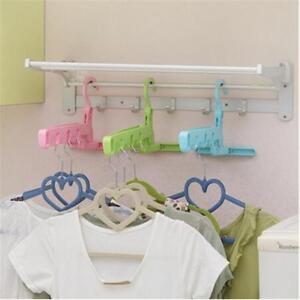 Portable Travel Outdoor Camping Folding Plastic Clothes Coat Hangers Racks SG
