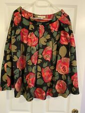 ANN-LOUISE ROSWALD Rose Print Black & Red   50s Print Knee Length - Used