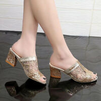 Women Block Slipper Mid Heels Peep Slingback Wedge Sandals Gladiator Party Shoes