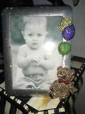 Custom Swarovski Crystal Teddy Bear and Balloons Picture Frame Silver 5X7 $160