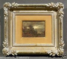 "19th Century Dark Landscape w/ Figure signed ""Hamel"" (German/Dutch) Oil Painting"