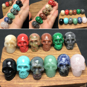 12x 12 Colors Handmade Carved Jasper Gemstone Skull Quartz Crystal Stones Set UK
