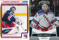 Henrik Lundqvist Lot of 2 different New York Rangers Hockey Cards