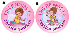 Personalized Fancy Nancy Property Stickers school books Name tags Labels Round