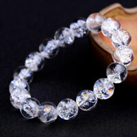 10mm White Clear Quartz Beads Natural Crystal Healing Rainbow Bracelet Jewelry