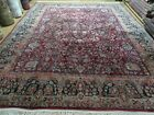 9' X 11' Antique Hand Made India Agra Wool Rug Hand Knotted Red Organic Dye Wow