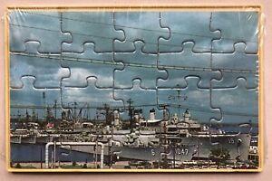 "Rare Vintage US Navy Ship Mail-a-Puzzle 16 Piece Jigsaw Postcard 3.5x5.5"""
