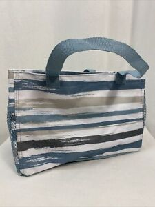 Thirty-One Carry All Caddy Striped Teal/Tan/Gray