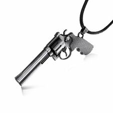 Cool Men Cross Fire Revolver Pistol Gun Pendant Necklace Black Leather Chain Hot