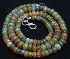 Natural Ethiopian Opal beads SUPER Rare Inside RONDELLE Necklace 4 TO 6 MM 15""