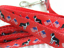 BOSTON TERRIER BREED SPECIFIC DESIGNER WOVEN RIBBON DOG COLLARS OR LEADS OR BELT