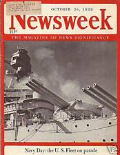 1939 Newsweek October 30 - Subs spotted off ME, AK & FL