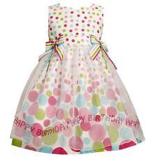NWT Bonnie Jean Girls Polka Dot Happy Birthday Party Dress COTTON size 6 X CUTE