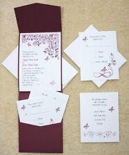 100 Personalized Custom Burgundy Butterfly Pocket Wedding Invitations Set