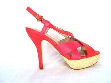 LOOK Vintage Rosso Cinturini Plateau Aperte Retro Scarpe 4 5 6 - 37 38 39 NUOVO
