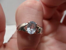Vintage Antique Estate~Genuine Blue Topaz 925 Sterling Silver Ornate Ring Sz 10