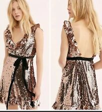 Free People Sequins Siren Dress In Bronze Nwt