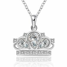 Women 925 Sterling Silver Plated Crown Pendant Necklace Chain Jewelry girl gift