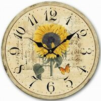 Retro Style Sunflower Butterfly Shabby Home Decorative Wall Clock Wood 34CM
