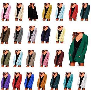 Womens Ladies Button Chunky Aran Knitted Thick Grandad Boyfriend Cardie Cardigan