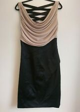 Karen Millen Black Beige Satin Dress UK 10 12 Draped Cowl Neck Criss Cross Back