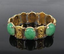 Antique Natural Jadeite Jade & 18K Yellow Gold Animal Theme Wide Bracelet
