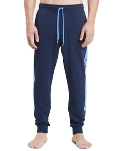 Calvin Klein Mens Sleepwear Blue Size XL Colorblock Jogger Lounge Pants $59 140