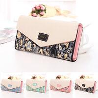 Womens Long Envelope Leather Wallet Card Button Clutch Purse Handbag Bag  HC