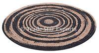 "Indian Braided Jute Rug Boho Round Floor Mat 24"" Handmade Reversible Floor Rug"